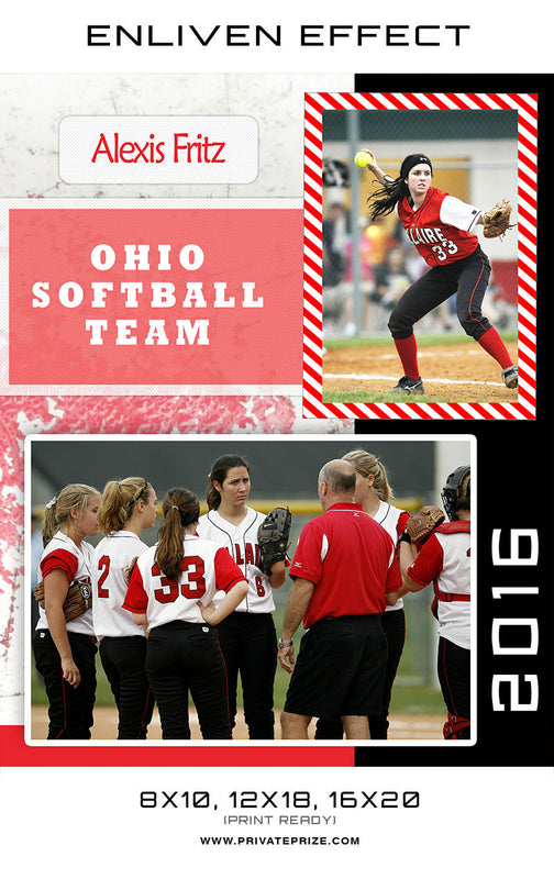 Alexis Ohio Softball Team - Sports Memory Mate Photoshop Template - Photography Photoshop Template