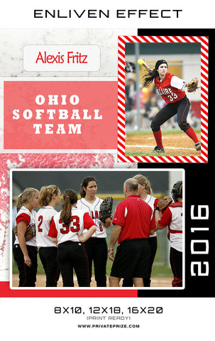 Alexis Ohio Softball Team - Sports MemoryMate Photoshop Template - Photography Photoshop Templates