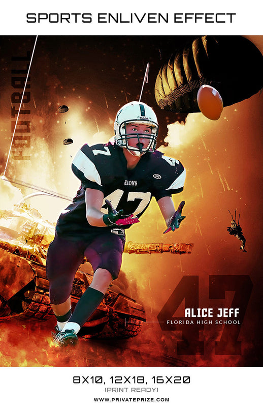 Alice Football Florida High School Sports Template -  Enliven Effects - Photography Photoshop Template