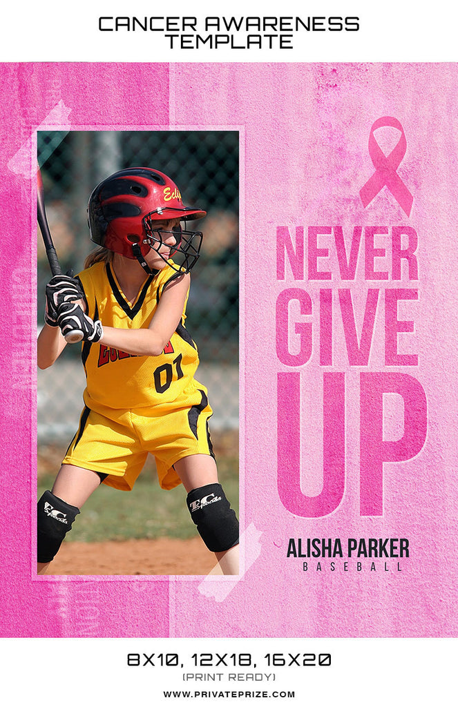 Alisha Cancer Awareness Sports Template -  Enliven Effects - Photography Photoshop Templates