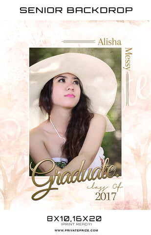Alisha Messy Senior Digital Backdrop - Photography Photoshop Templates