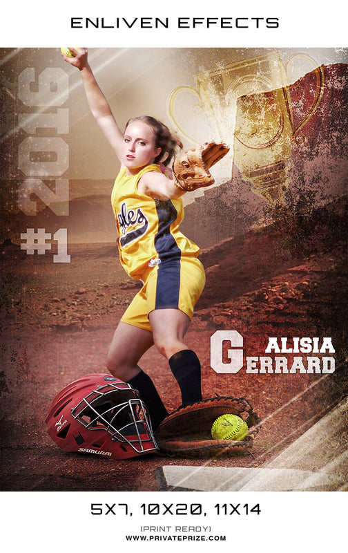 Alisia Gerrard Softball Photoshop Template - Enliven Effects - Photography Photoshop Templates