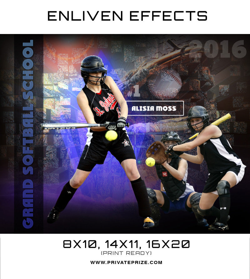 Alisia Grand Softball School Sports Template -  Enliven Effects - Photography Photoshop Templates