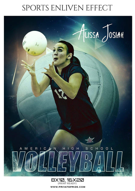 Alissa Josiah Volleyball American High School Sports Template - Enliven Effects - Photography Photoshop Template