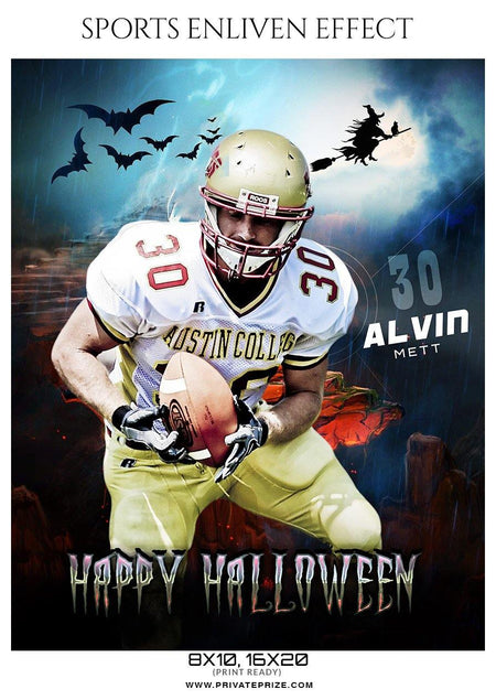 Alvin Mett - Football Halloween Template -  Enliven Effects - Photography Photoshop Template