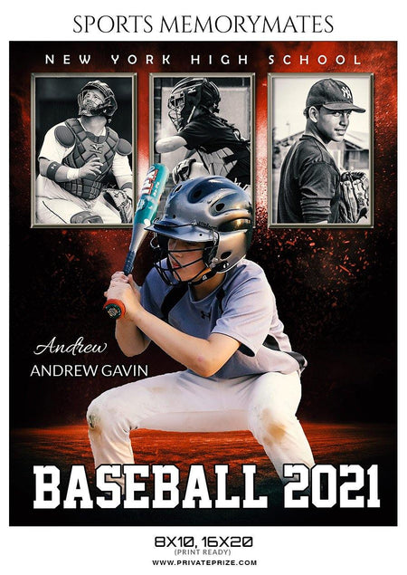 Andrew Gavin - Baseball Sports Memorymate Photography Template