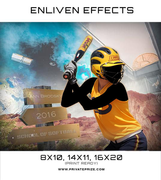 Ann School of Softball Sports Template -  Enliven Effects - Photography Photoshop Template