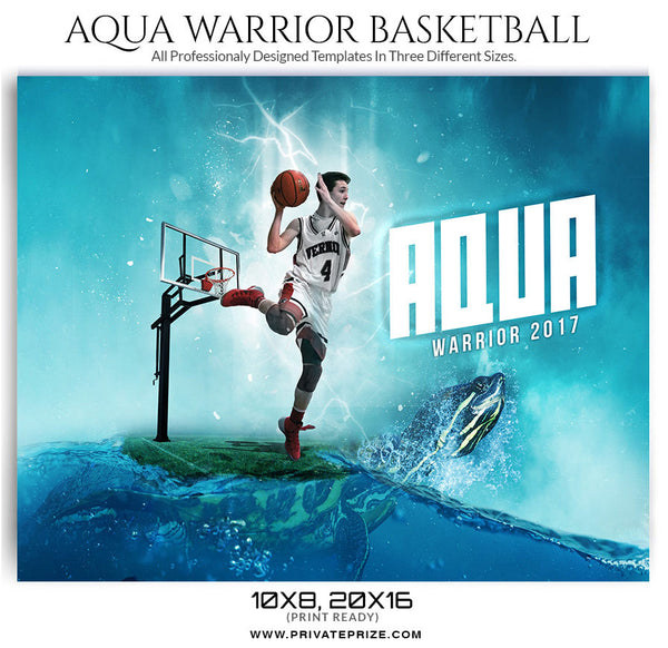 Aqua Warrior Themed Sports Template - sports photography photoshop templates