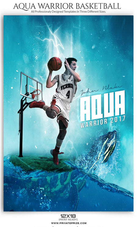 Aqua Warrior Themed Sports Template - Photography Photoshop Template