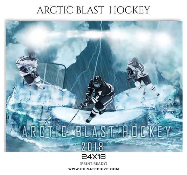 Arctic Blast Hockey Sports Photoshop Template - Photography Photoshop Templates
