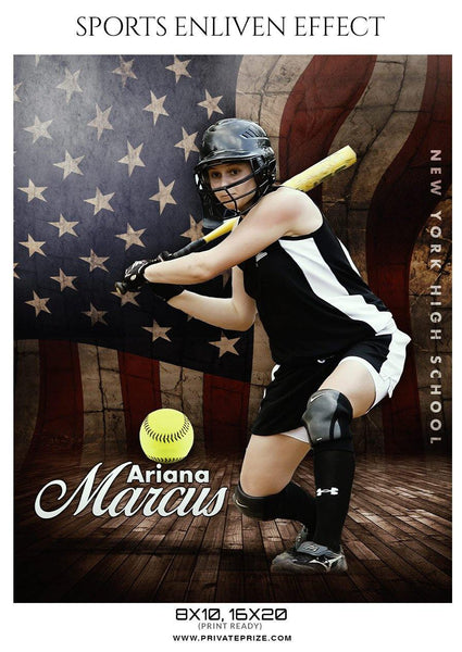 Ariana Marcus - Softball Sports Enliven Effect Photography template