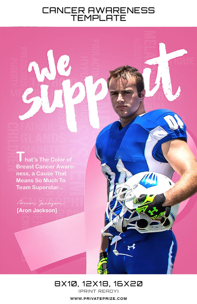 Aron Cancer Awareness Sports Template -  Enliven Effects - Photography Photoshop Templates