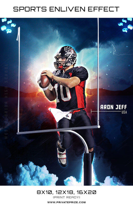 Aron Football West Florida High School Sports Template -  Enliven Effects - Photography Photoshop Template