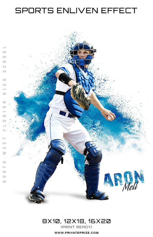 Aron Matt Baseball Powder Explosion Sports Template -  Enliven Effects - Photography Photoshop Templates