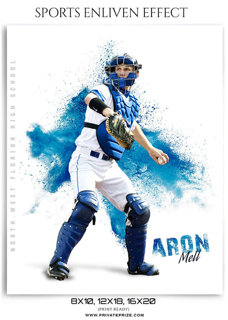 Aron Matt Baseball Powder Explosion -  Enliven Effects - Photography Photoshop Template