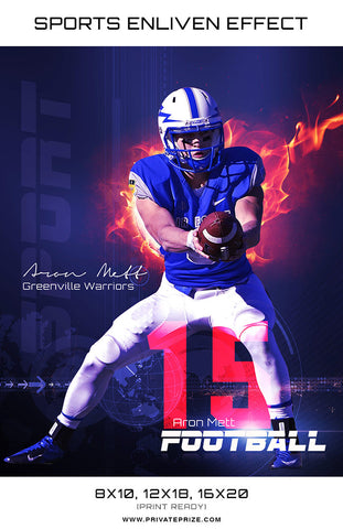 Aron Matt Football High School Sports - Enliven Effects - Photography Photoshop Templates