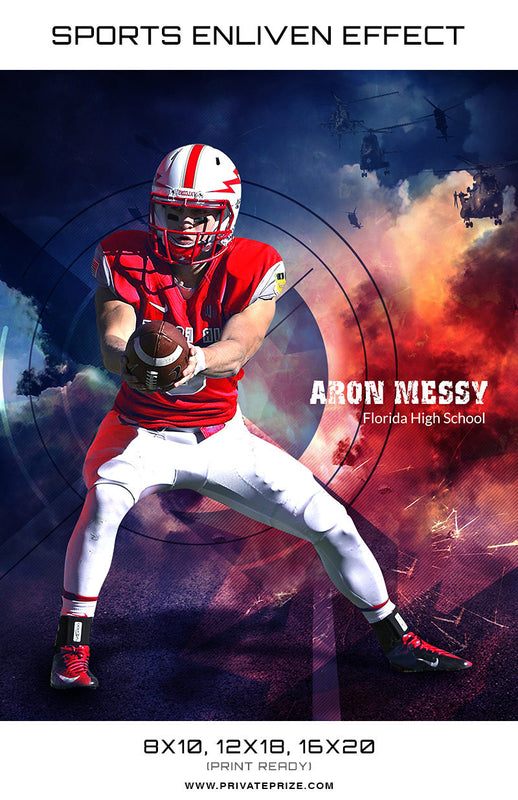 Aron Messey Football Florida High School Sports - Enliven Effects - Photography Photoshop Template