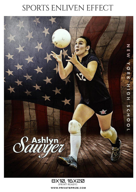Ashlyn Sawyer - Volleyball Sports Enliven Effect Photography template - Photography Photoshop Template