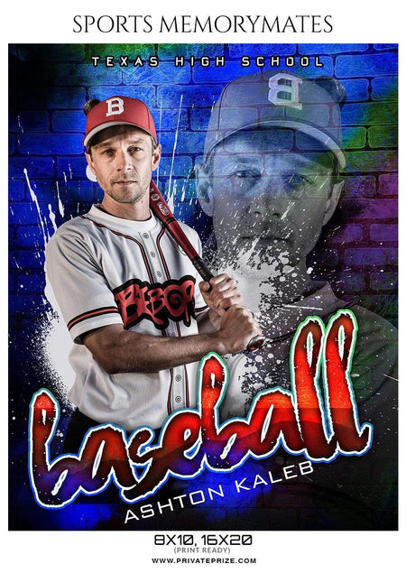 Ashton Kaleb- Baseball Sports Memorymate Photography Template