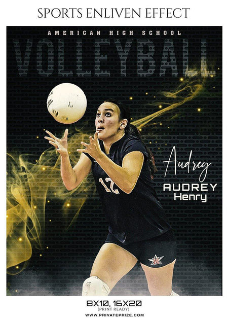 Audrey Henry -  VolleyBall Sports Enliven Effects Photography Template - Photography Photoshop Template