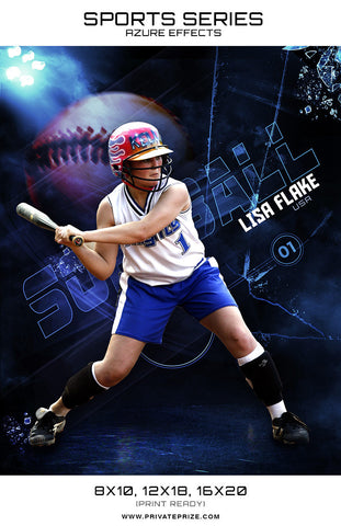 Softball - Sports Series Azure Effect - Photography Photoshop Templates