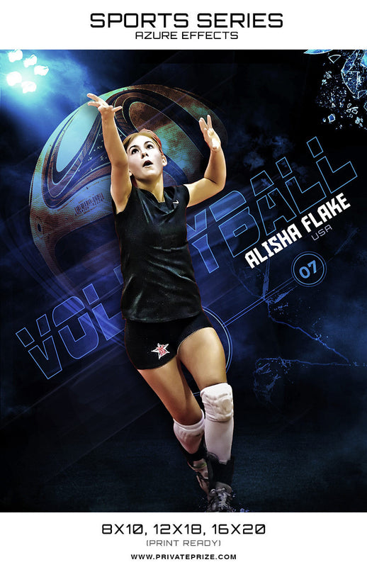 Volleyball - Sports Series Azure Effect - Photography Photoshop Templates