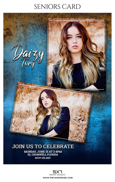 Daisy Tory - Senior Photo Card - Photography Photoshop Template