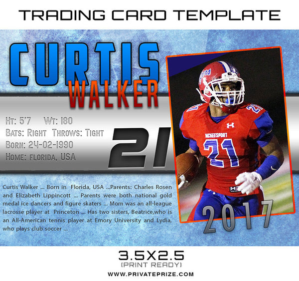Curtis Sports Trading Card Template - Photography Photoshop Templates