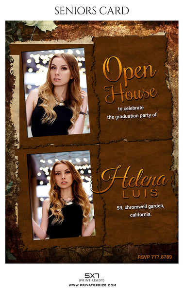 Helena Luis - Senior Photo Card - Photography Photoshop Template
