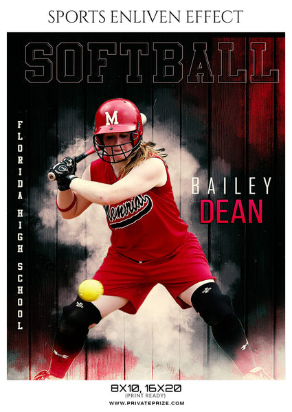 Bailey Dean Softball Enliven Effects Sports Photoshop Template - Photography Photoshop Template