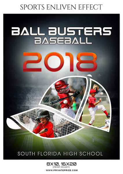 BALL BUSTERS-BASEBALL- SPORTS ENLIVEN EFFECT - Photography Photoshop Template