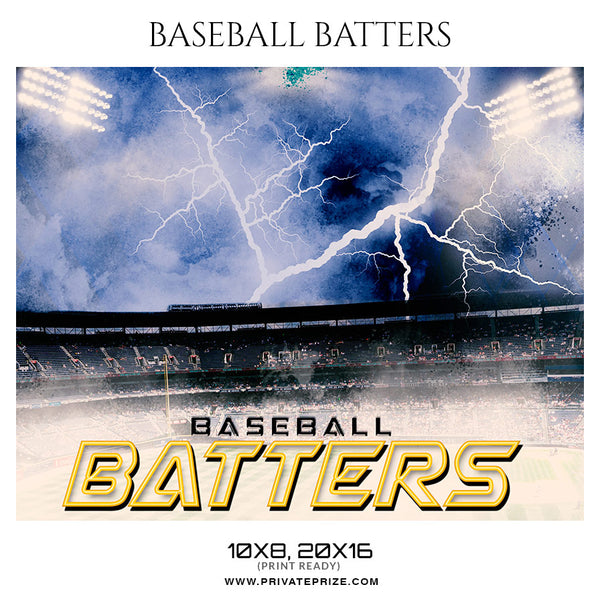 Baseball Batters - Baseball Themed Sports Photography Template - Photography Photoshop Template