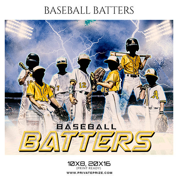 Baseball Batters - Baseball Themed Sports Photography Template