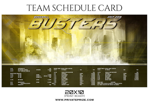Baseball Busters - Team Sports Schedule Card Photoshop Templates - Photography Photoshop Template