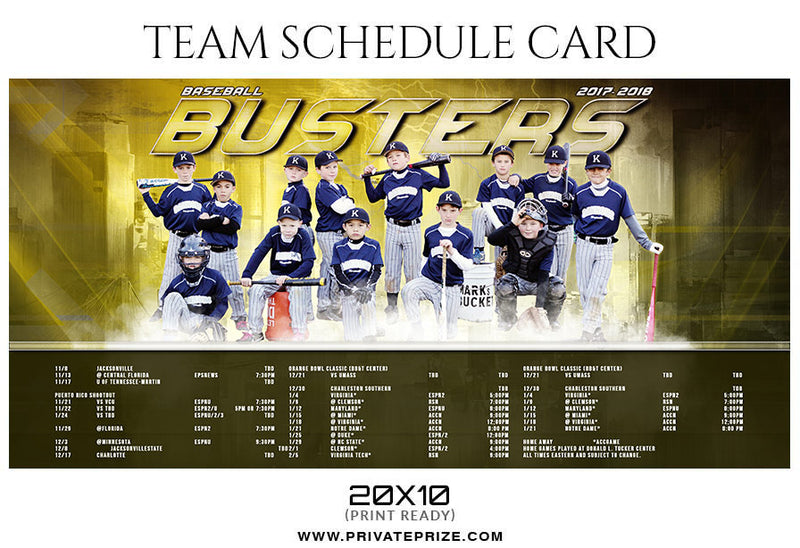 Baseball Busters Team Sports Schedule Card Photoshop Templates