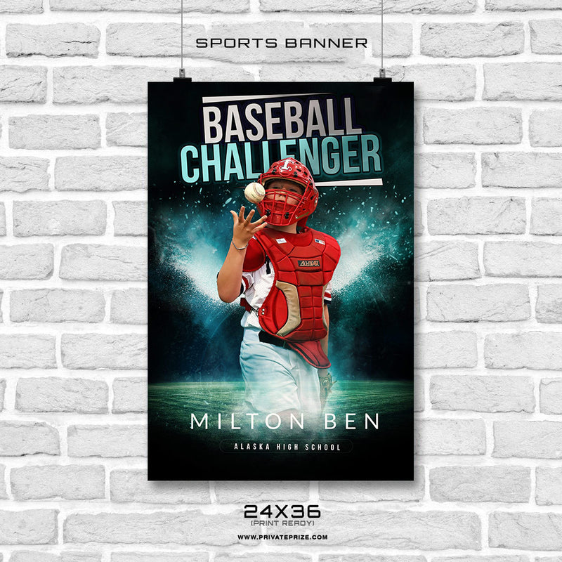 BASEBALL CHALLENGER BANNER PHOTOSHOP TEMPLATE - Photography Photoshop Template