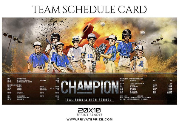 Baseball - Team Sports Schedule Card Photoshop Templates