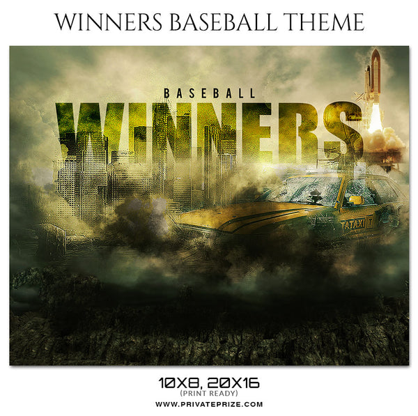 Winners - Baseball Themed Sports Photography Template - Photography Photoshop Template