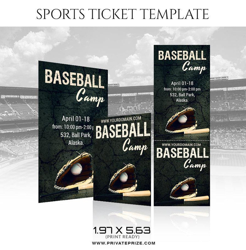 Baseball - Sports Ticket Template