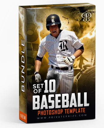 September Baseball Bundle Photography Photoshop Template - Photography Photoshop Template