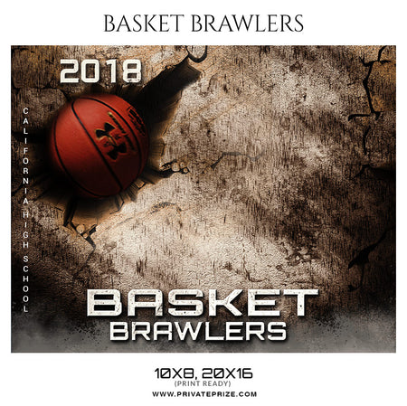 Basket Brawlers Theme Sports Photography Template - Photography Photoshop Template