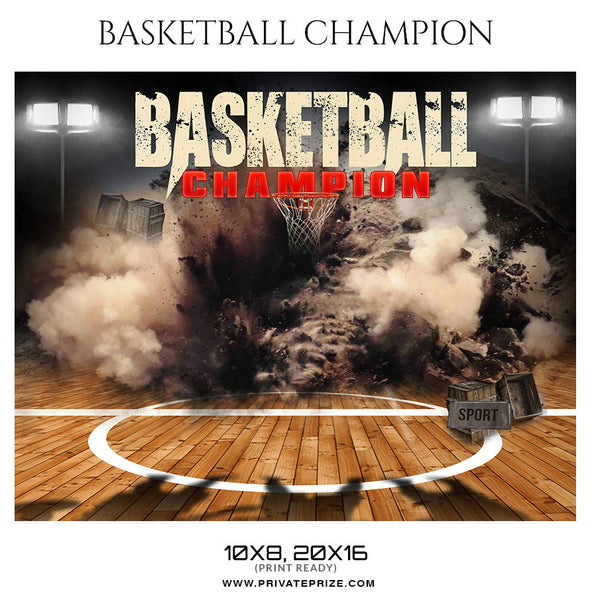 Basketball Champions Themed Sports Photography Template - Photography Photoshop Template