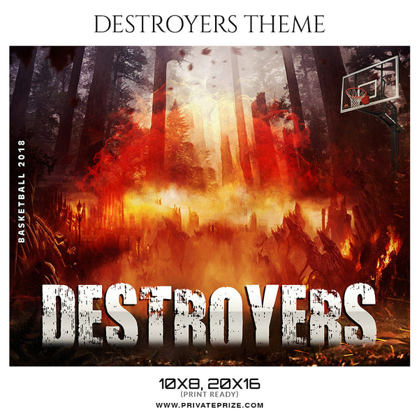 Basketball Destroyer Theme Sports Photography Template - Photography Photoshop Template