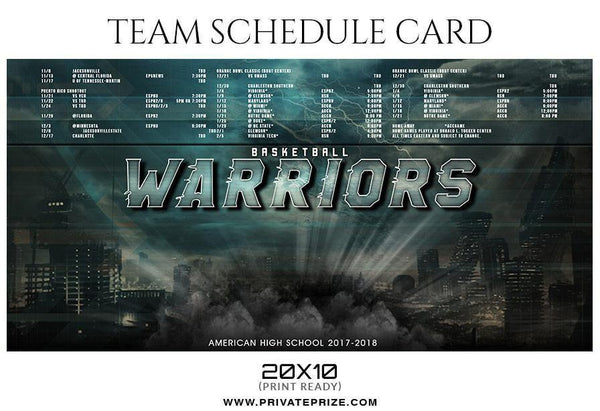Basketball Warriors - Team Sports Schedule Card Photoshop Templates - Photography Photoshop Template