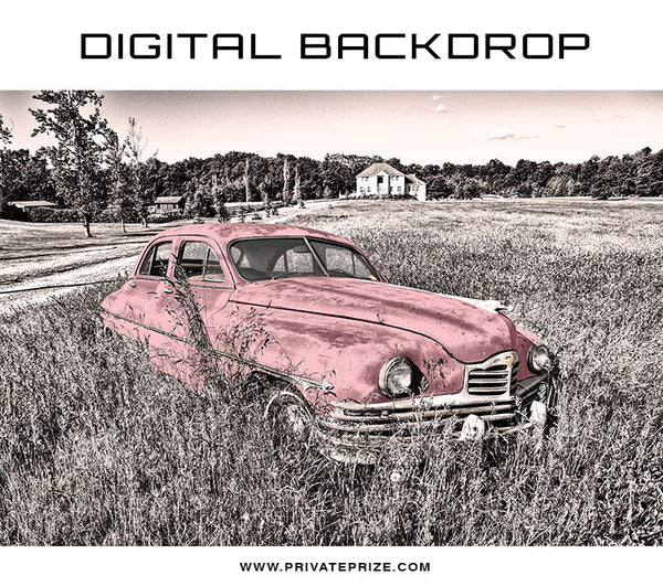 Digital Backdrop - Vintage Car - Photography Photoshop Templates