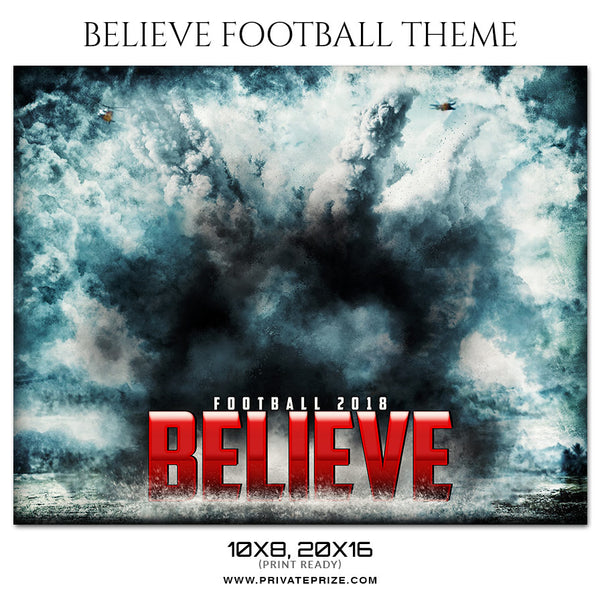 Believe - Football Themed Sports Photography Template - Photography Photoshop Template