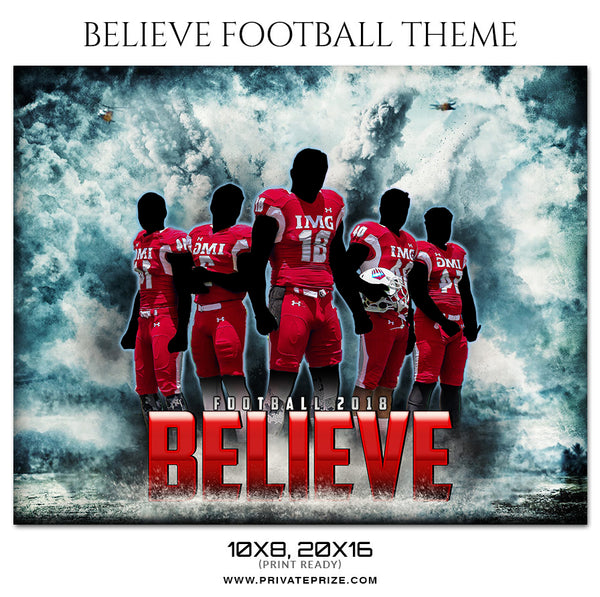 Believe - Football Themed Sports Photography Template