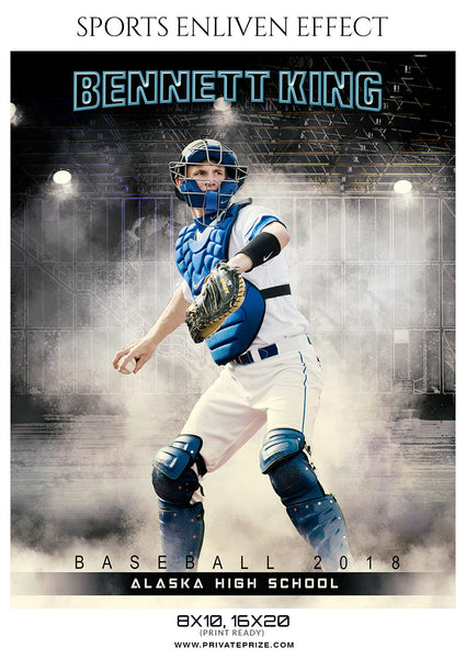 Bennett King - Baseball Sports Enliven Effects Photography Template - Photography Photoshop Template