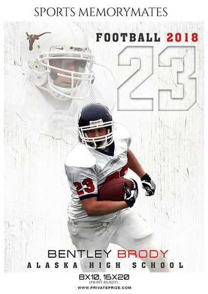 Bentley Brody - Football  Memory Mate Photoshop Template - Photography Photoshop Template