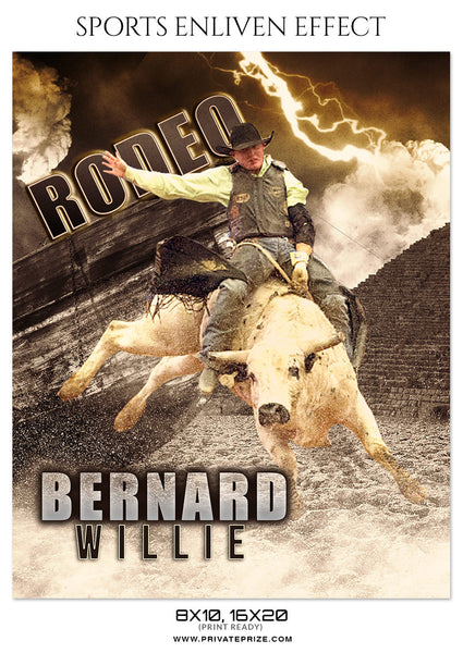 BERNARD WILLIE-RODEO - SPORTS ENLIVEN EFFECT - Photography Photoshop Template